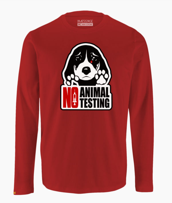 T-Shirt – No Animal Testing – Manica lunga