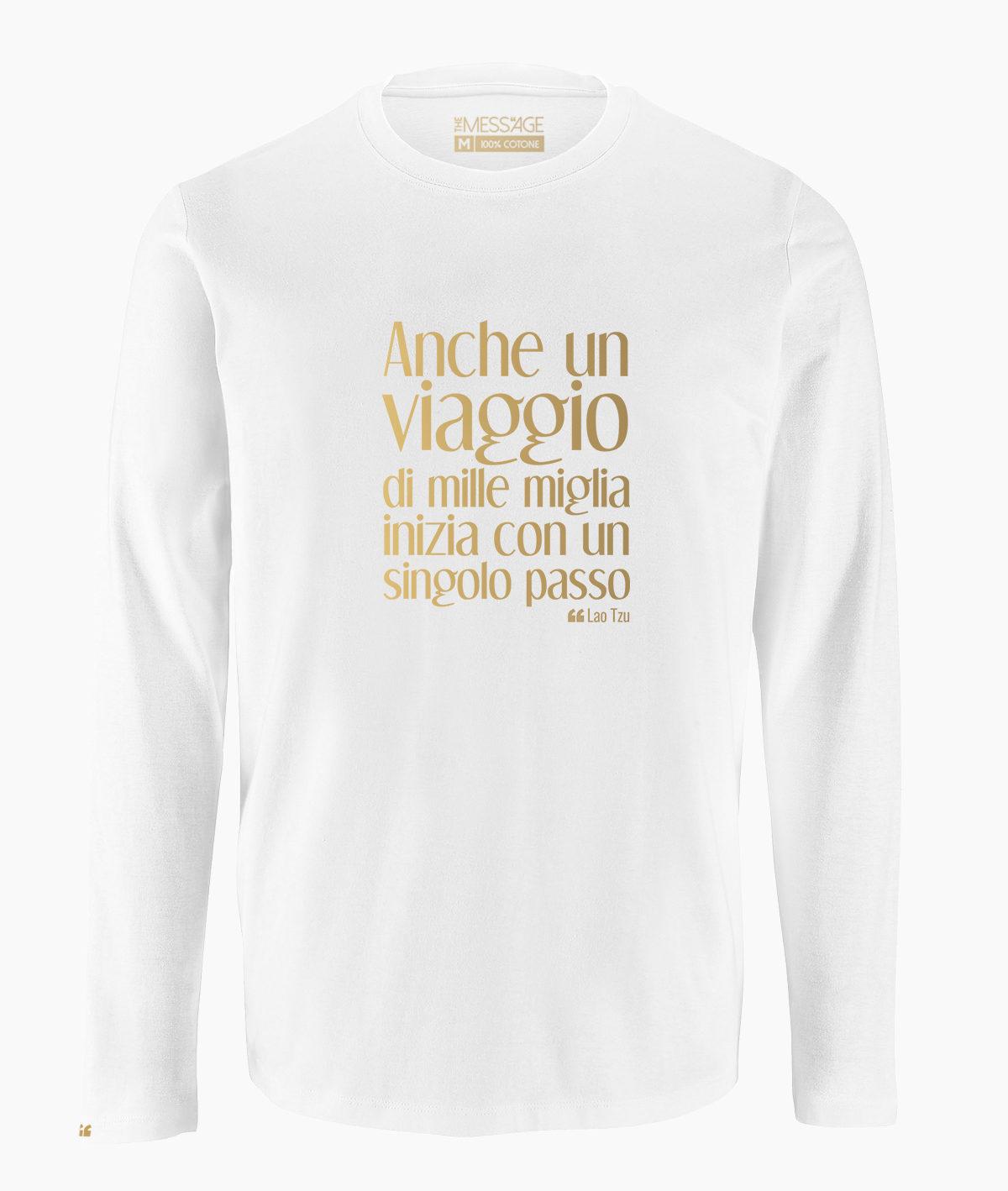T-Shirt – Anche un viaggio di mille miglia – Lao Tzu – Manica lunga