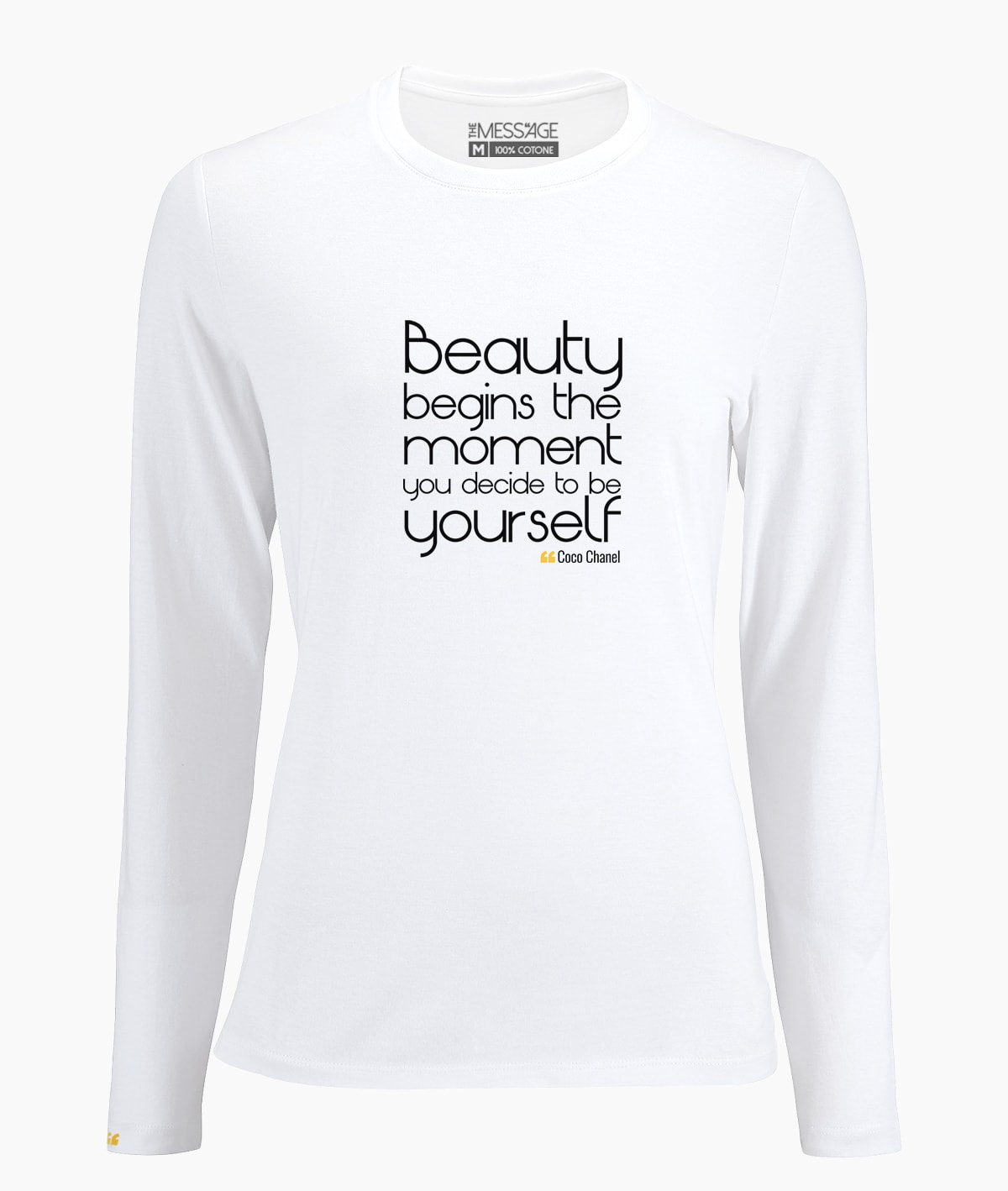 d52ab78e5d30b T-Shirt - Beauty begins the moment - Coco Chanel - Manica lunga