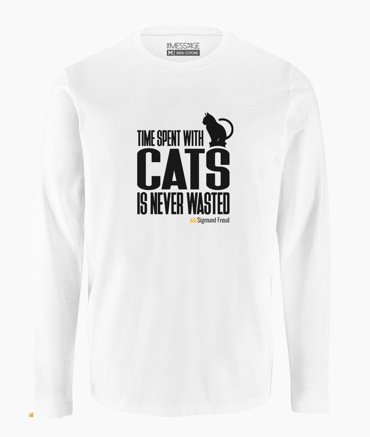 T-Shirt – Time spent with cats – Sigmund Freud – Manica lunga