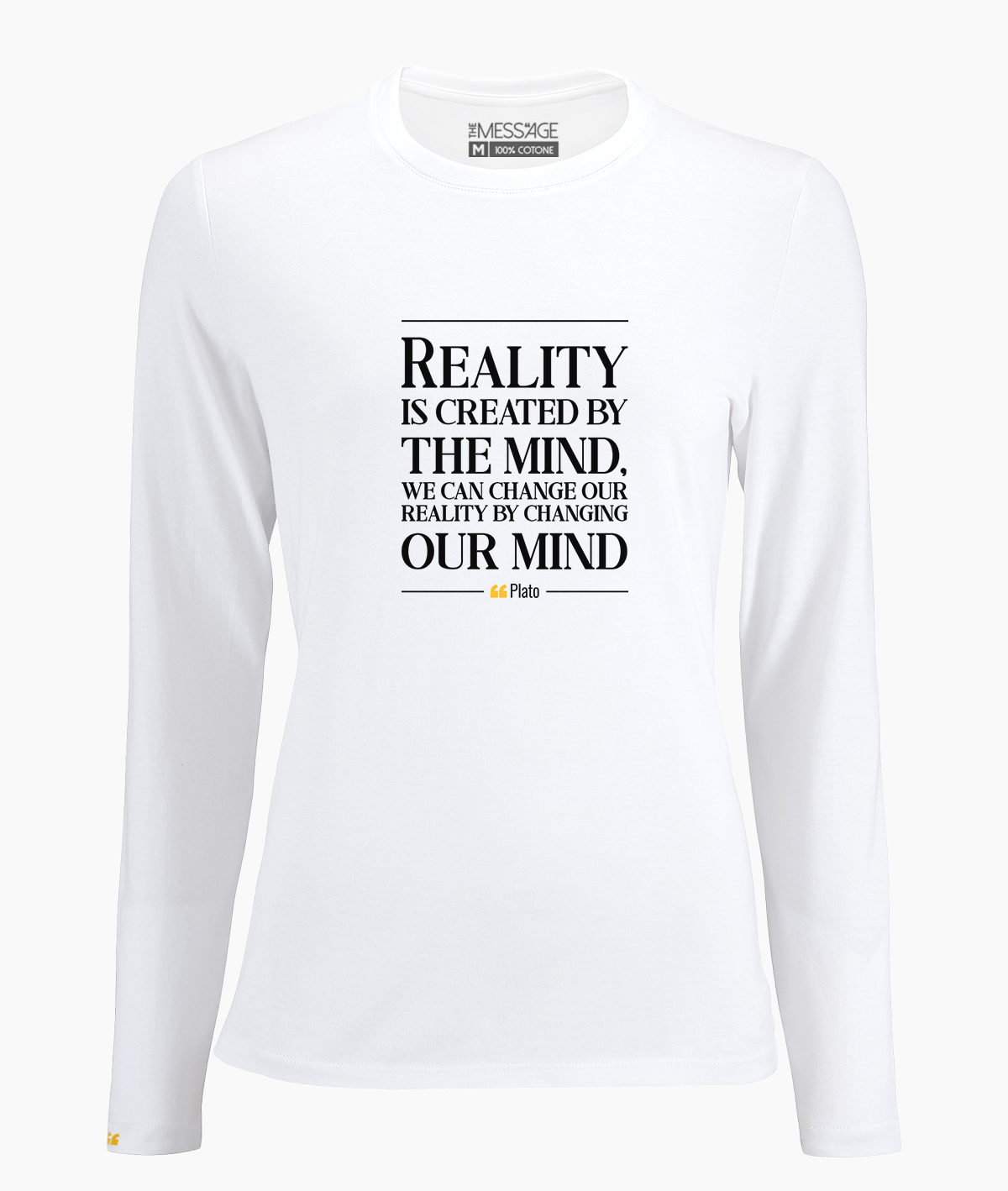 T-Shirt – Reality is created by the mind – Plato – Manica lunga