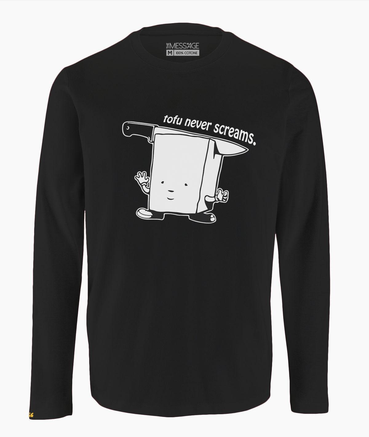 T-Shirt – Tofu never screams – Manica lunga