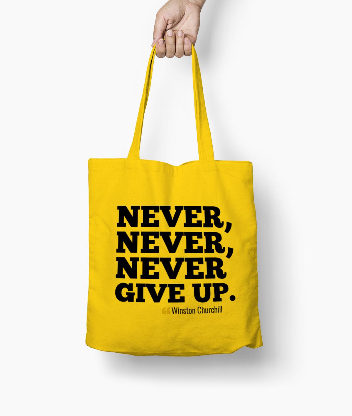 Never give up – Winston Churchill Borsa