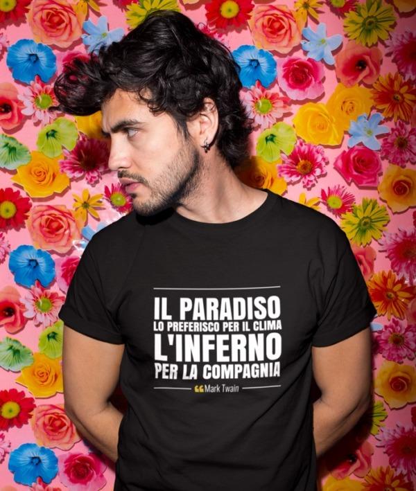 Il paradiso lo preferisco per il clima – Mark Twain T-Shirt