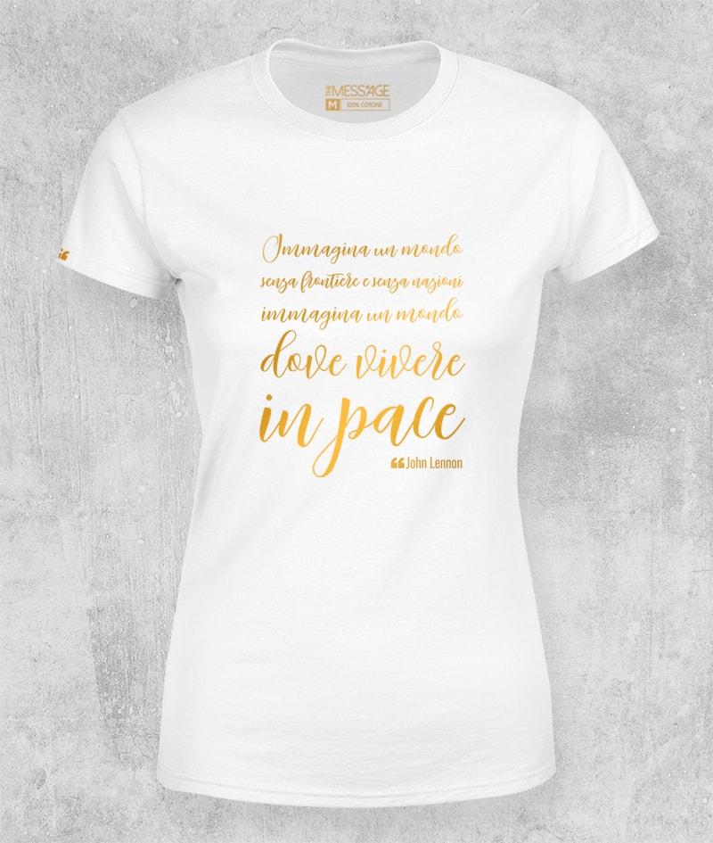 Immagina un mondo dove vivere in pace – John Lennon T-Shirt