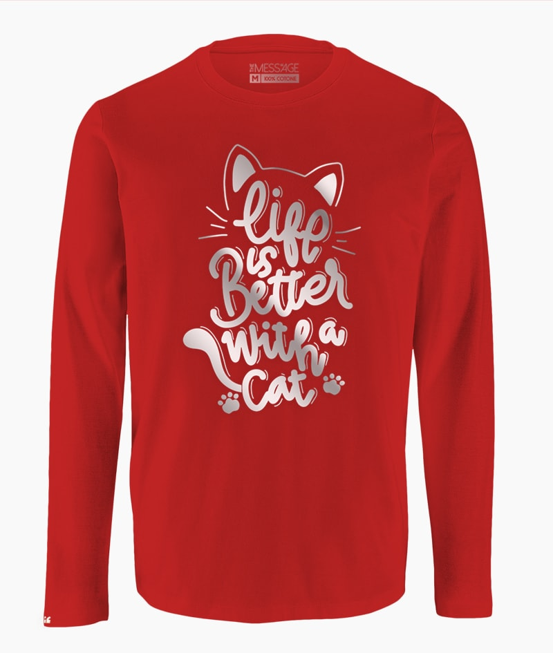 Life is better with a Cat T-Shirt – Manica lunga