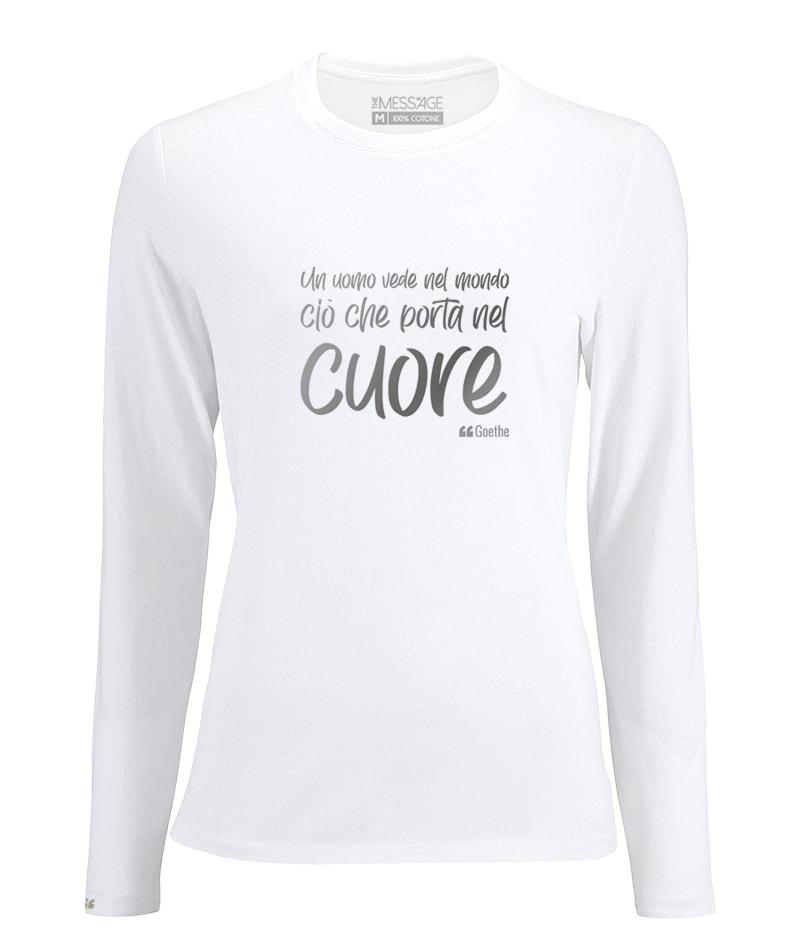 Un uomo vede nel mondo – Goethe T-Shirt – Manica lunga