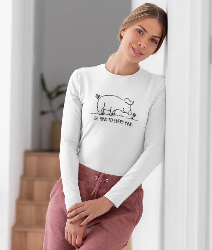 Be Kind To Every Kind – Vegan T-Shirt – Manica lunga